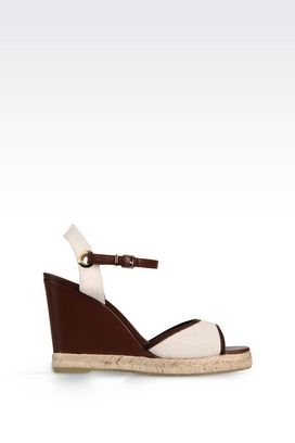 Armani Wedges Women wedge sandal in napa leather and canvas