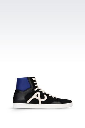 Armani High-top sneakers Men high top sneaker in leather with logo