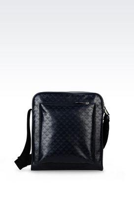 Armani Messenger bags Men shoulder bag in logo patterned calfskin