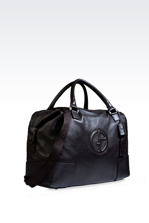 WEEKEND BAG IN TUMBLED LEATHER WITH LOGO: Travel bags Men by Armani - 4