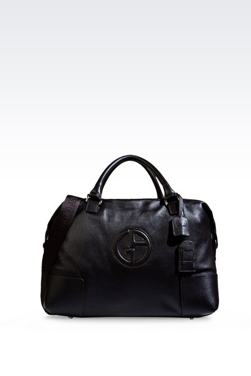 WEEKEND BAG IN TUMBLED LEATHER WITH LOGO: Travel bags Men by Armani - 1
