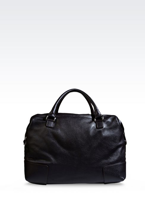 WEEKEND BAG IN TUMBLED LEATHER WITH LOGO: Travel bags Men by Armani - 2