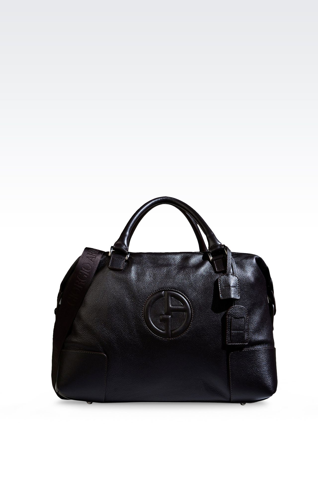 WEEKEND BAG IN TUMBLED LEATHER WITH LOGO: Travel bags Men by Armani - 0