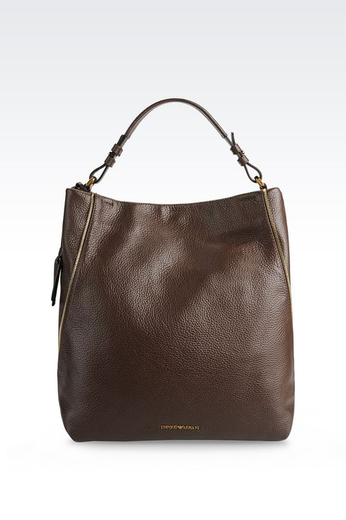 HOBO BAG IN PRINTED CALFSKIN WITH ZIP DETAILS: Shoulder bags Women by Armani - 1
