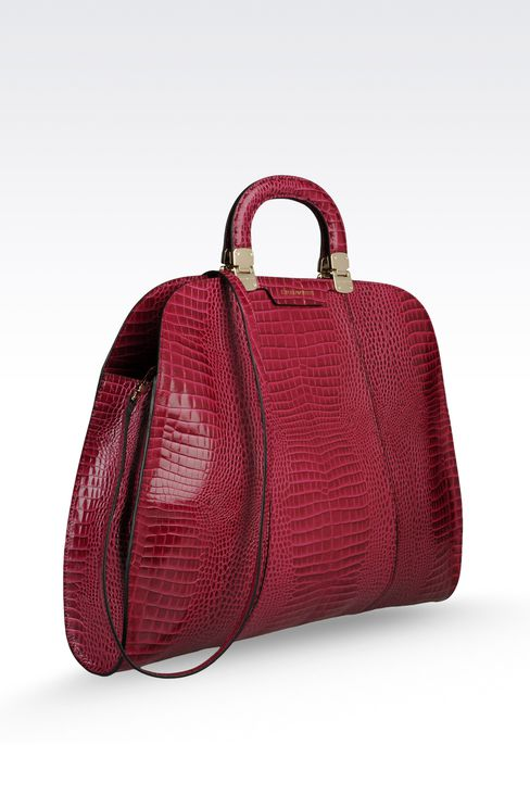 calfskin handbag with croc print: Top handles Women by Armani - 3