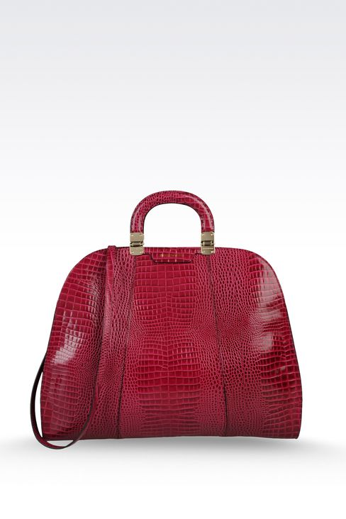 calfskin handbag with croc print: Top handles Women by Armani - 1