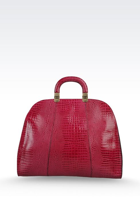 calfskin handbag with croc print: Top handles Women by Armani - 2