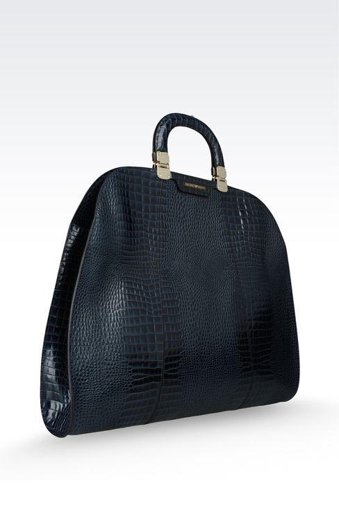 calfskin handbag with croc print: Top handles Women by Armani - 3