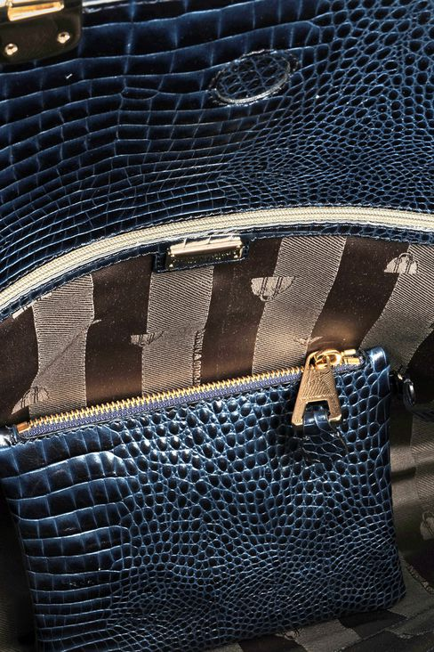 calfskin handbag with croc print: Top handles Women by Armani - 4
