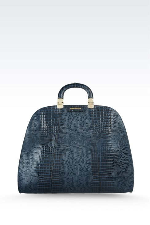 calfskin handbag with croc print: Top handles Women by Armani - 1