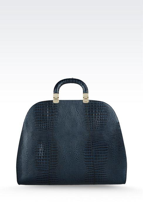 calfskin handbag with croc print: Top handles Women by Armani - 2