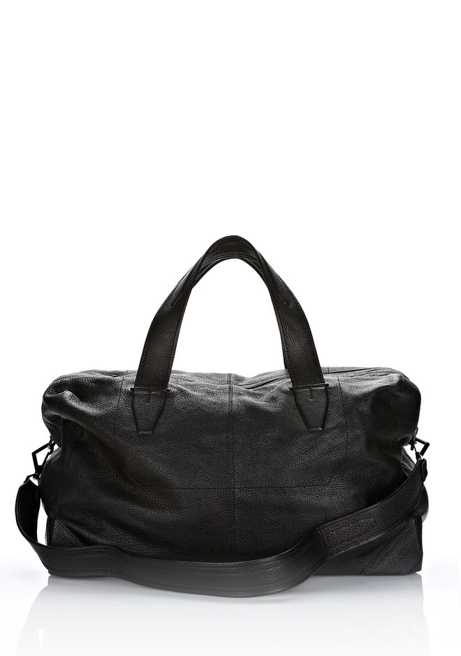 ALEXANDER WANG WALLIE DUFFLE IN BLACK GOATSKIN WITH MATTE BLACK