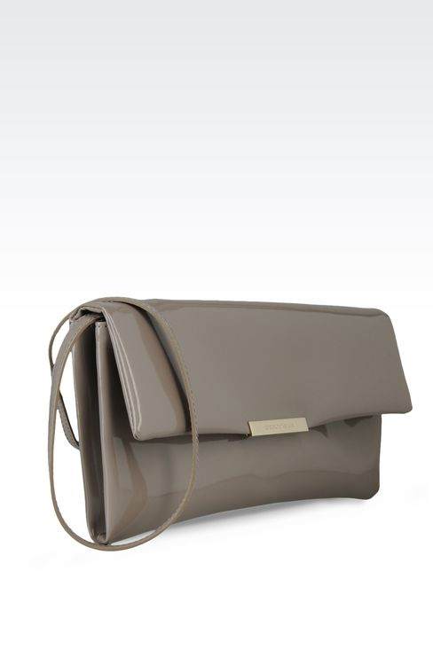 clutch with patent effect and detachable shoulder strap: Pochettes Women by Armani - 3