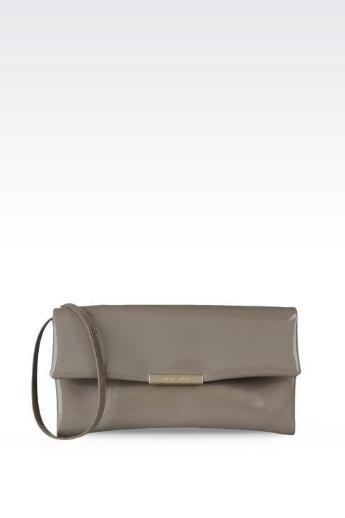 clutch with patent effect and detachable shoulder strap: Pochettes Women by Armani - 1