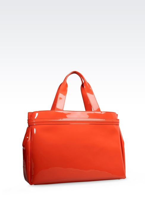 SHOPPING BAG IN PATENT FAUX LEATHER WITH PENDANT: Shoppers Women by Armani - 2
