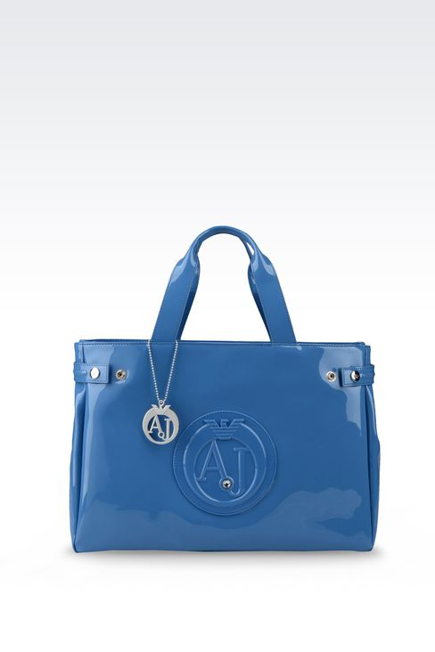 SHOPPING BAG IN PATENT FAUX LEATHER WITH PENDANT: Shoppers Women by Armani - 1