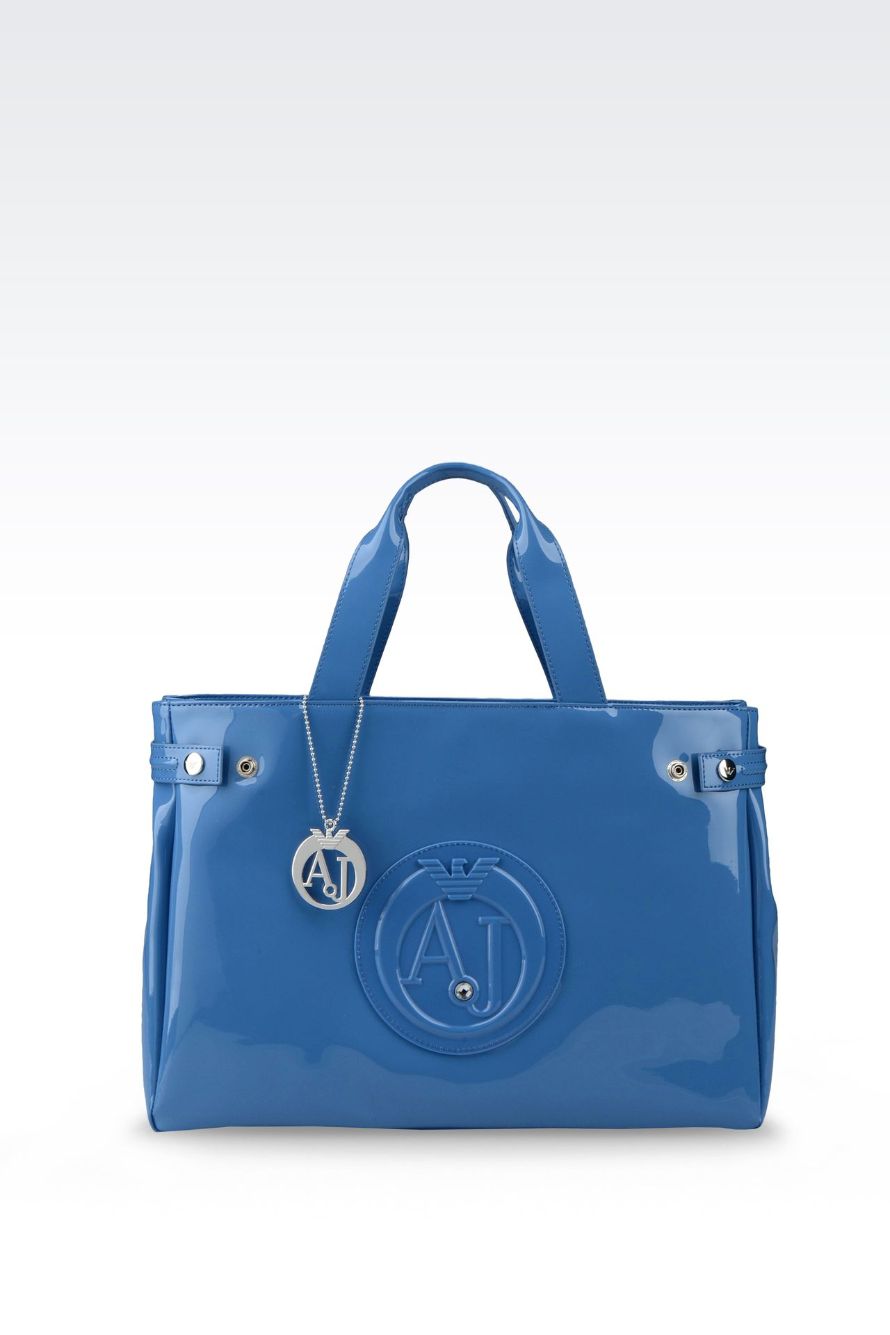 SHOPPING BAG IN PATENT FAUX LEATHER WITH PENDANT: Shoppers Women by Armani - 0