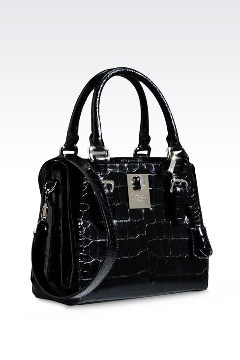 SMALL HANDBAG IN CROC PRINT CALFSKIN : Top handles Women by Armani - 3