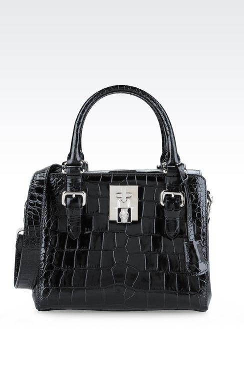 SMALL HANDBAG IN CROC PRINT CALFSKIN : Top handles Women by Armani - 1