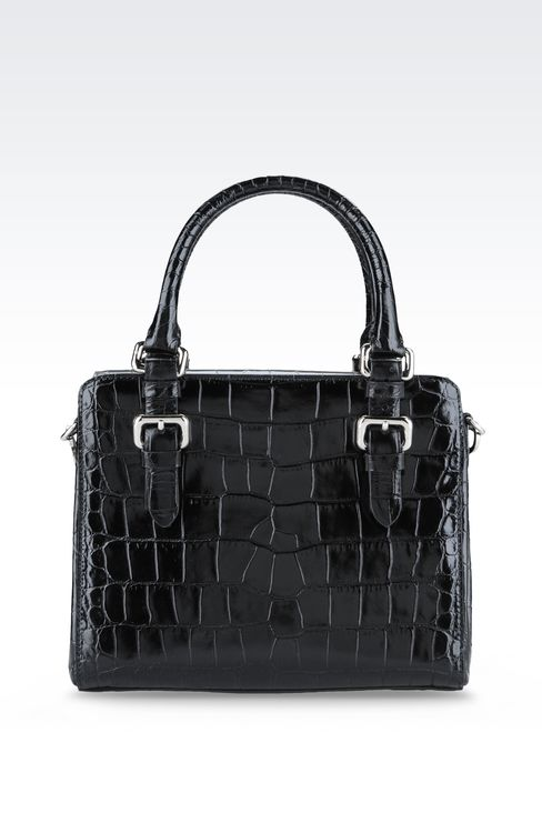 SMALL HANDBAG IN CROC PRINT CALFSKIN : Top handles Women by Armani - 2