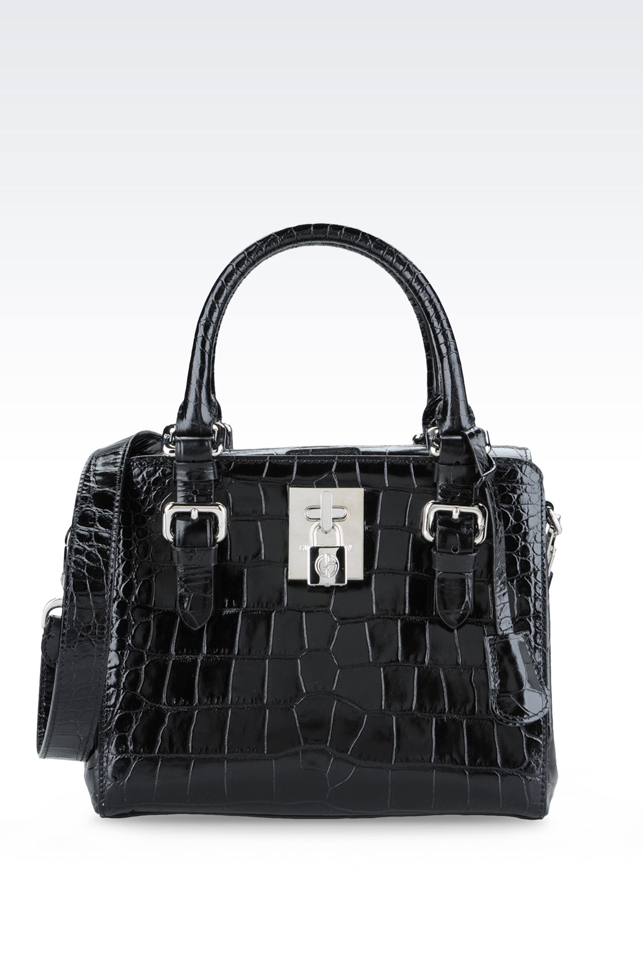 SMALL HANDBAG IN CROC PRINT CALFSKIN : Top handles Women by Armani - 0
