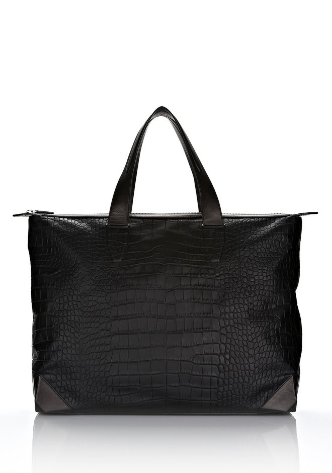 ALEXANDER WANG Travel Men WALLIE WEEKENDER IN BLACK MOC CROC WITH RHODIUM