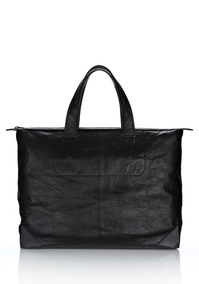 ALEXANDER WANG Travel Men WALLIE WEEKENDER IN WAXY  BLACK WITH MATTE BLACK