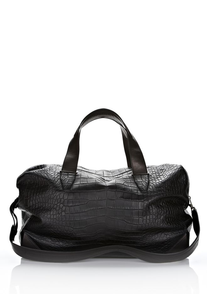 ALEXANDER WANG Travel Men WALLIE DUFFLE IN BLACK EMBOSSED CROC  WITH RHODIUM
