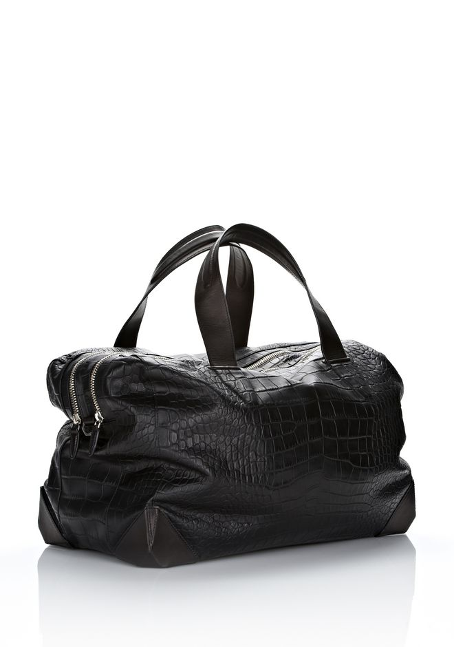 ALEXANDER WANG WALLIE DUFFLE IN BLACK EMBOSSED CROC  WITH RHODIUM Travel Adult 12_n_r