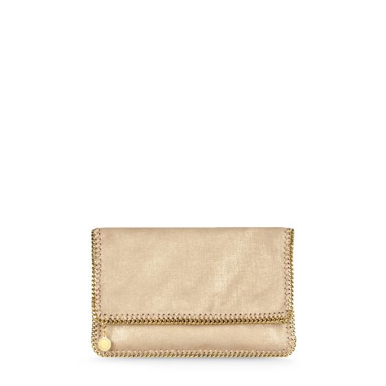 Stella McCartney, Gold Falabella Faux Suede Fold Over Clutch