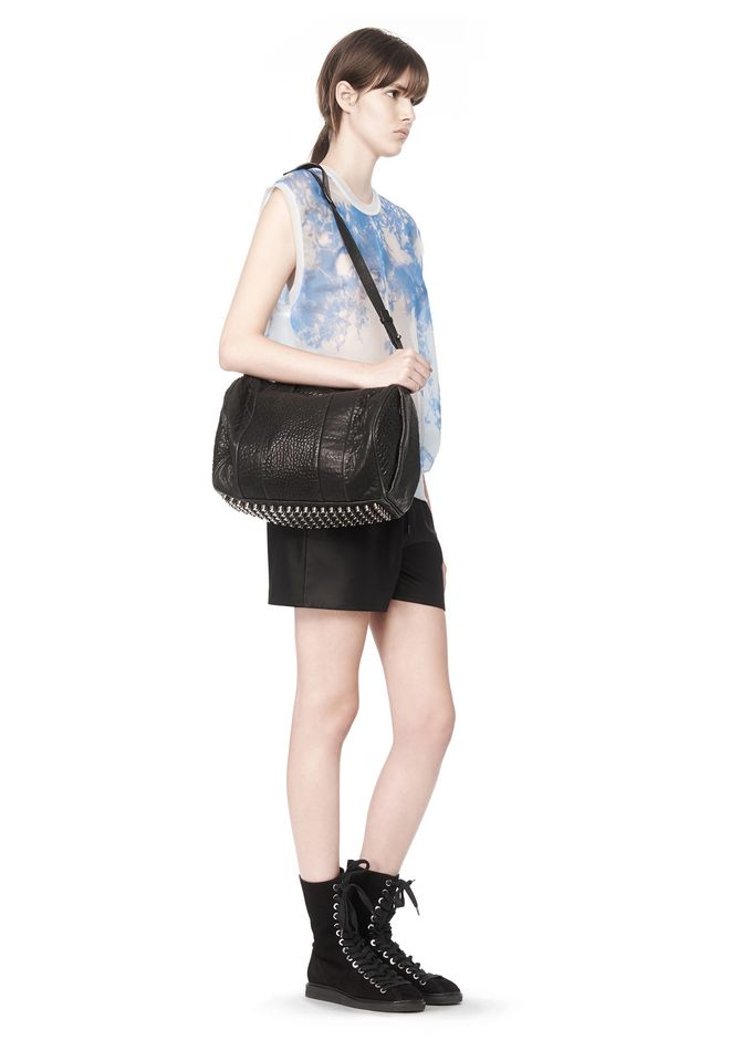ALEXANDER WANG ROCCO IN PEBBLED BLACK WITH BLACK NICKEL Shoulder bag Adult 12_n_r