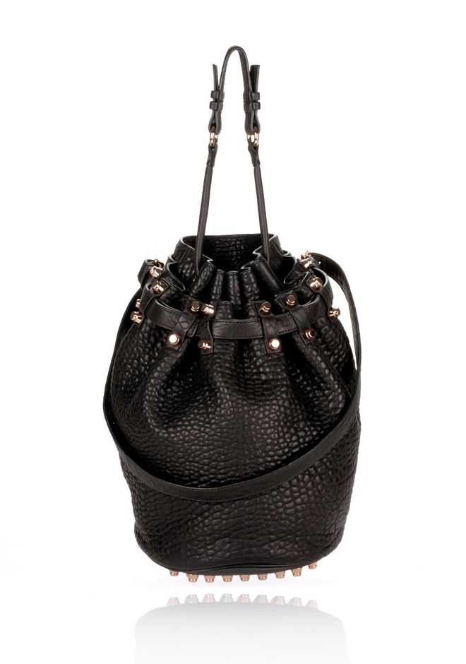 ALEXANDER WANG DIEGO IN BLACK PEBBLE WITH ROSEGOLD