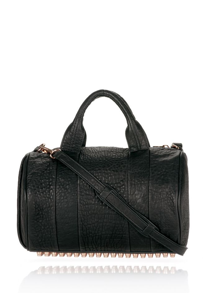 ALEXANDER WANG ROCCO IN BLACK PEBBLE LAMB WITH ROSEGOLD Shoulder bag Adult 12_n_f