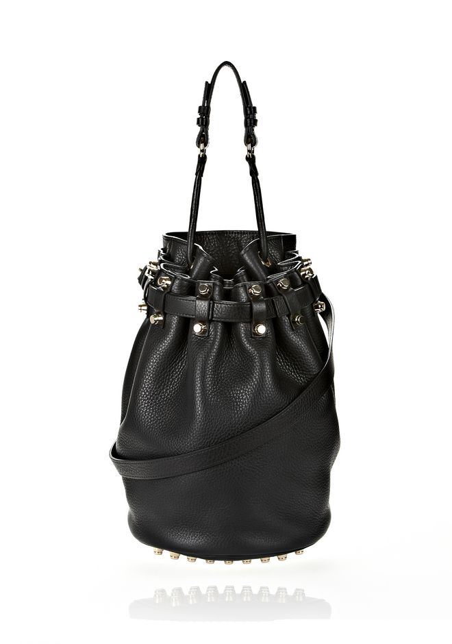 ALEXANDER WANG DIEGO IN BLACK SOFT PEBBLE LEATHER WITH PALE GOLD