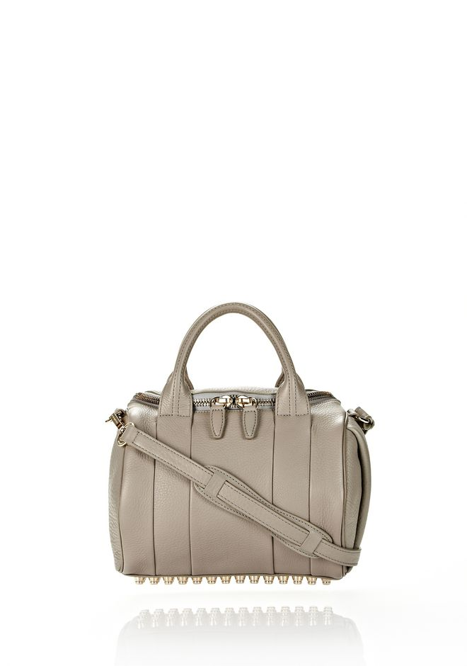 ALEXANDER WANG ROCKIE IN OYSTER SOFT PEBBLE LEATHER W/ PALE GOLD