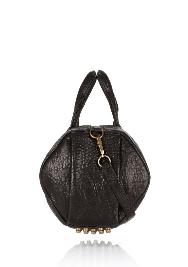 ALEXANDER WANG ROCCO IN BLACK PEBBLE WITH ANTIQUE BRASS Shoulder bag Adult 12_n_d