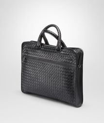 BOTTEGA VENETA - Briefcases, Nero Intrecciato Light Calf Briefcase
