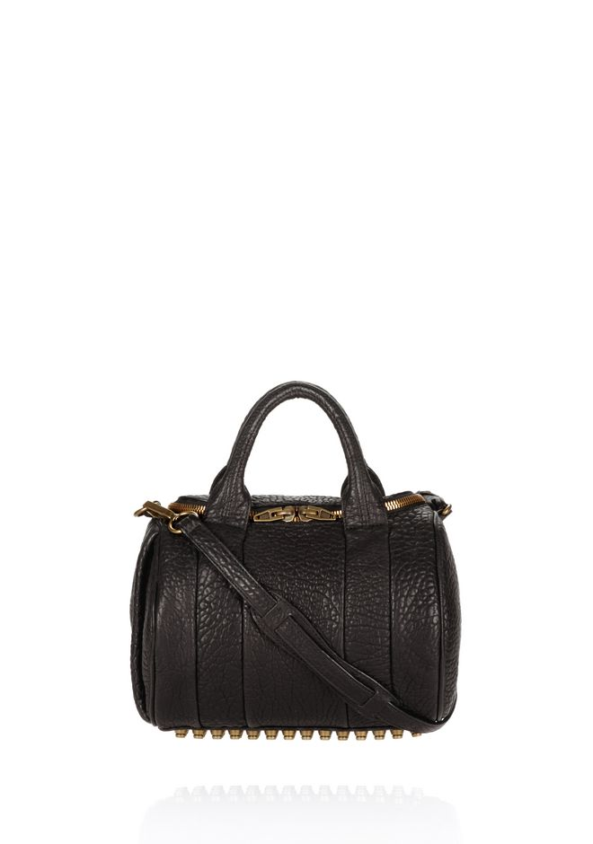 ALEXANDER WANG ROCKIE IN PEBBLED BLACK WITH ANTIQUE BRASS