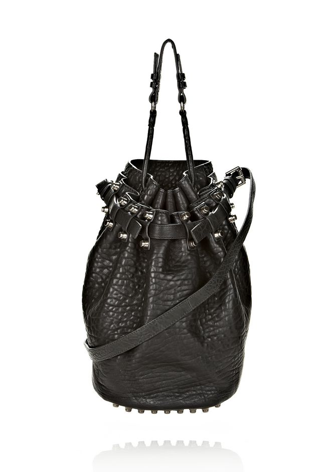 ALEXANDER WANG DIEGO IN BLACK PEBBLE LEATHER WITH BLACK NICKEL