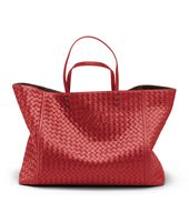 TOTE BAG IN BLOOD INTRECCIATO NAPPA