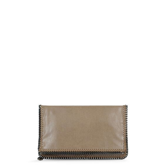 Stella McCartney, Clutch Falabella mit Fold Over-Verschluss in Chamois-Optik