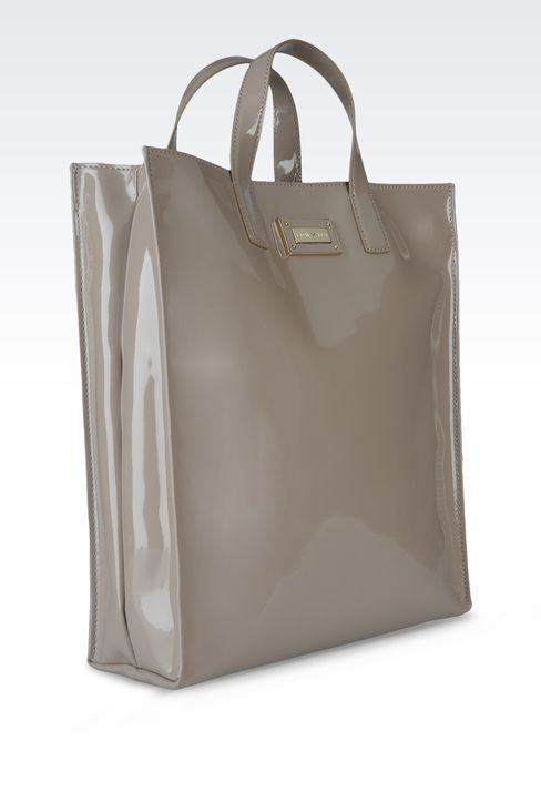 two-handle shopper with patent effect: Top handles Women by Armani - 3