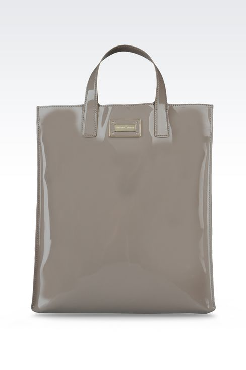 two-handle shopper with patent effect: Top handles Women by Armani - 1
