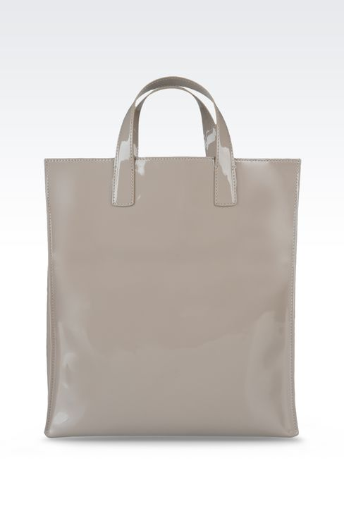 two-handle shopper with patent effect: Top handles Women by Armani - 2