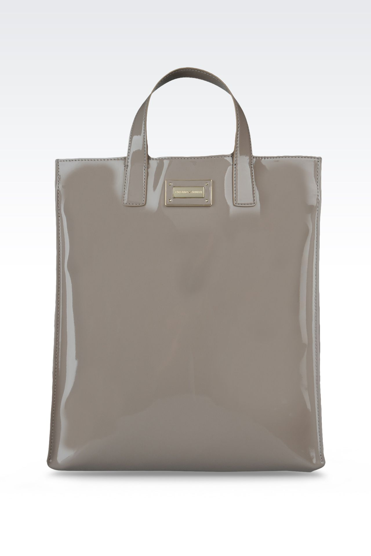 two-handle shopper with patent effect: Top handles Women by Armani - 0