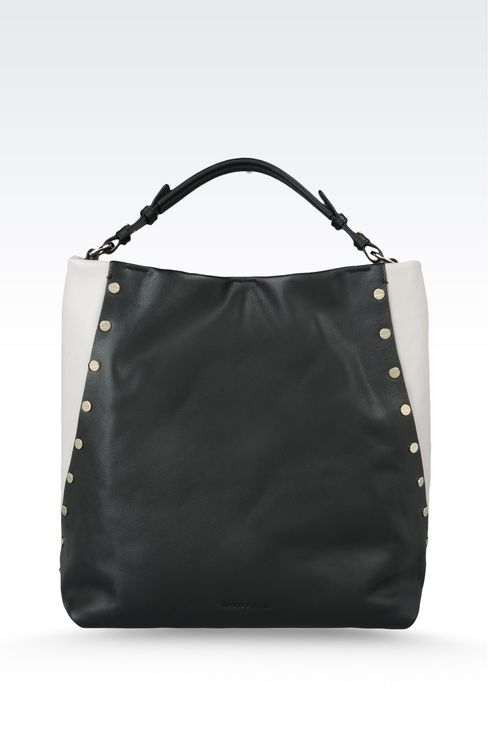 two-color leather bag with stud embellishment: Top handles Women by Armani - 1