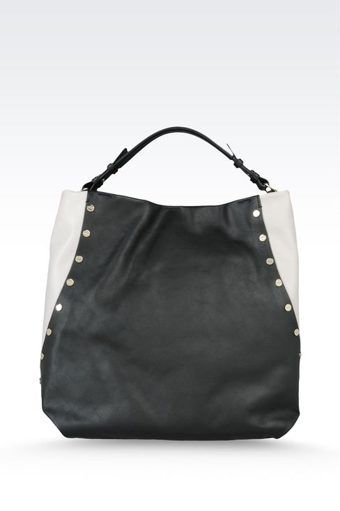 two-color leather bag with stud embellishment: Top handles Women by Armani - 2
