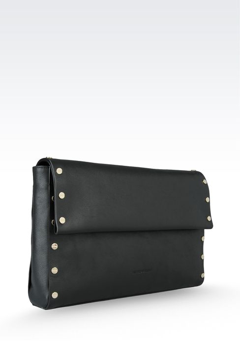 clutch in hammered leather with studs: Top handles Women by Armani - 3