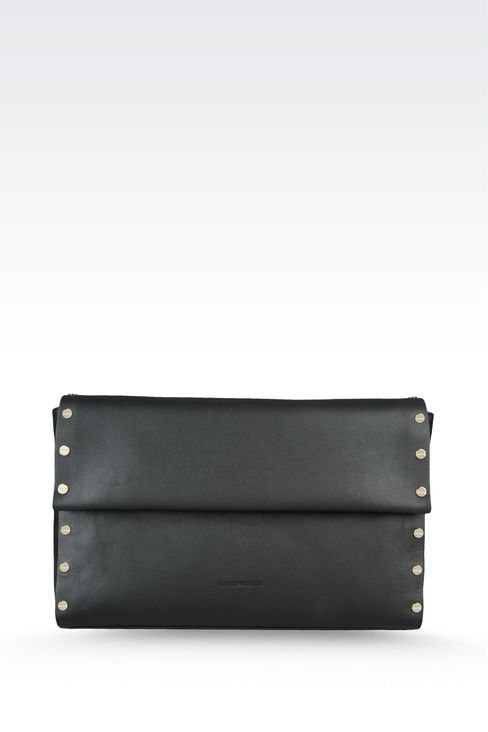 clutch in hammered leather with studs: Top handles Women by Armani - 1
