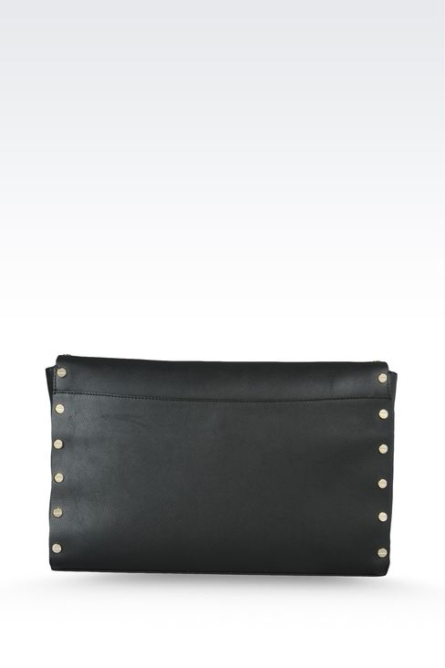 clutch in hammered leather with studs: Top handles Women by Armani - 2